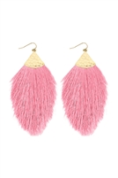 A2-3-2-AHDE2232PK PINK TASSEL WITH HAMMERED METAL HOOK DROP EARRINGS/6PAIRS