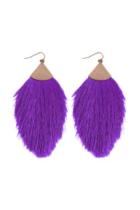 S7-4-3-AHDE2232PU PURLE TASSEL DROP EARRING/6PAIRS