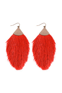 S5-4-3-AHDE2232RD RED TASSEL DROP EARRINGS/6PAIRS