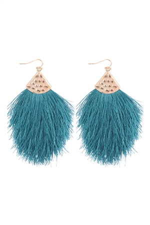 S6-4-2-AHDE2232TL TEAL TASSEL DROP EARRINGS/6PAIRS
