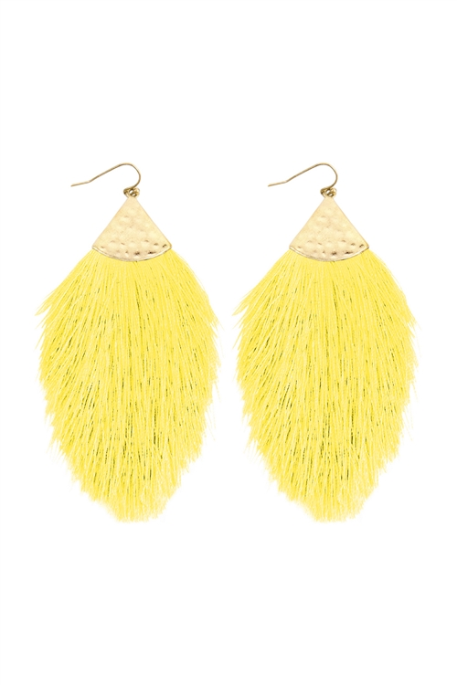 A3-3-2-AHDE2232YEL YELLOW TASSEL WITH HAMMERED METAL HOOK DROP EARRINGS/6PAIRS