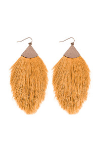 S5-5-3-AHDE2232YW MUSTARD OVERSIZED TASSEL DROP EARRINGS/6PAIRS
