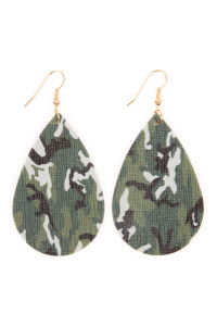 SA4-1-1-AHDE2233 CAMOUFLAGE TEARDROP LEATHER EARRING/6PAIRS