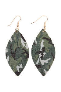 A2-3-2-HDE2234 CAMOUFLAGE MARQUISE LEATHER EARRING/6PAIRS