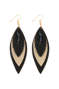 SA4-2-3-AHDE2235BKG BLACK GOLD THREE LAYER FRINGED LEATHER MARQUISE EARRINGS/6PAIRS