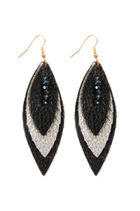 SA4-2-2-AHDE2235BKR BLACK SILVER THREE LAYER FRINGED LEATHER MARQUISE EARRINGS/6PAIRS