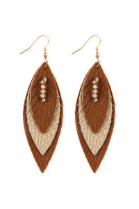 SA4-2-3-AHDE2235BR BROWN THREE LAYER FRINGED LEATHER MARQUISE EARRINGS/6PAIRS