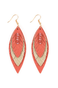 S7-6-3-AHDE2235CO - THREE LAYER FRINGED LEATHER MARQUISE EARRINGS - CORAL/6PCS