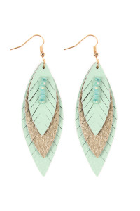 SA4-2-3-AHDE2235MN MINT THREE LAYER FRINGED LEATHER MARQUISE EARRINGS/6PAIRS