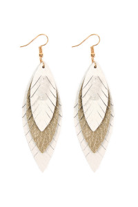 S6-6-4-AHDE2235NA NATURAL THREE LAYER FRINGED LEATHER MARQUISE EARRINGS/6PAIRS