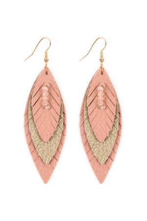 SA4-3-4-AHDE2235PK PINK THREE LAYER FRINGED LEATHER MARQUISE EARRINGS/6PAIRS