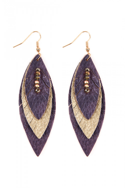 A2-2-4-AHDE2235PU PURPLE THREE LAYER FRINGED LEATHER MARQUISE EARRINGS/6PAIRS