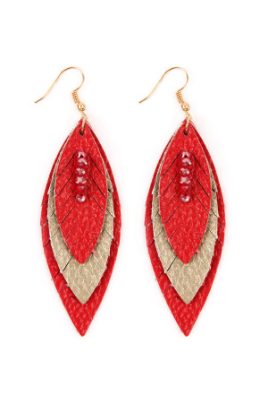 SA4-2-3-AHDE2235RD RED THREE LAYER FRINGED LEATHER MARQUISE EARRINGS/6PAIRS