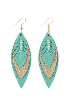 SA4-2-2-AHDE2235TQ TURQUOISE THREE LAYER FRINGED LEATHER MARQUISE EARRINGS/6PAIRS