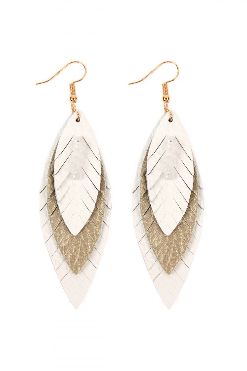 A1-2-4-AHDE2235WT WHITE THREE LAYER FRINGED LEATHER MARQUISE EARRINGS/6PAIRS