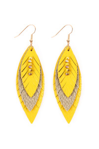 SA4-2-2-AHDE2235YW YELLOW THREE LAYER FRINGED LEATHER MARQUISE EARRINGS/6PAIRS