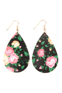 SA4-1-2-AHDE2245BK BLACK TEARDROP FLORAL LEATHER EARRINGS/6PAIRS