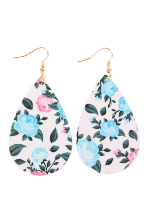 SA4-3-4-AHDE2245BL BLUE TEARDROP FLORAL LEATHER EARRINGS/6PAIRS