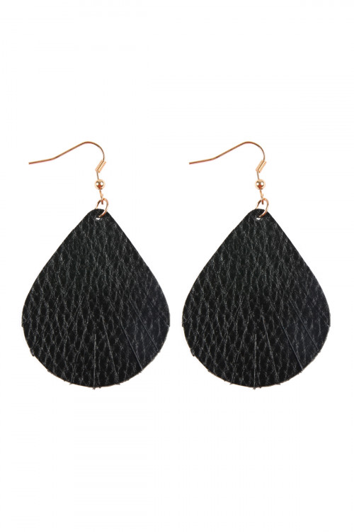 S7-4-1-AHDE2271BK BLACK FRINGED PEAR SHAPE LEATHER EARRINGS/6PAIRS