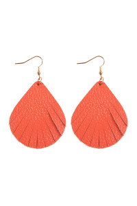 S7-4-1-AHDE2271CO CORAL FRINGED PEAR SHAPE LEATHER EARRINGS/6PAIRS