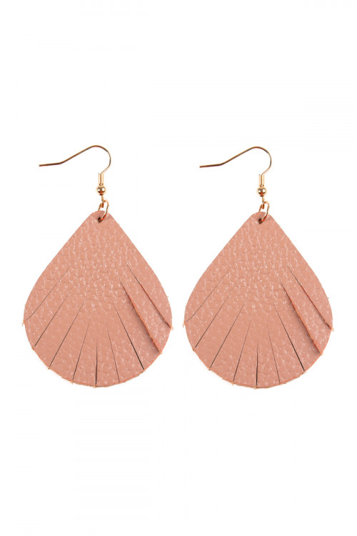 S7-4-1-AHDE2271DPK DUSTY PINK FRINGED PEAR SHAPE LEATHER EARRINGS/6PAIRS