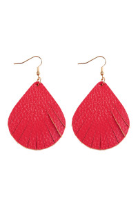 S7-4-1-AHDE2271HPK HOT PINK FRINGED PEAR SHAPE LEATHER EARRINGS/6PAIRS