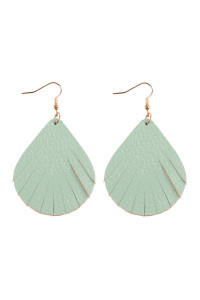 A3-3-3-AHDE2271MN MINT FRINGED PEAR SHAPE LEATHER EARRINGS/6PAIRS