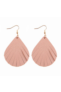 S6-4-2-AHDE2271NU NUDE FRINGED PEAR SHAPE LEATHER EARRINGS/6PAIRS