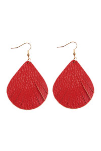 S6-4-2-AHDE2271RD RED FRINGED PEAR SHAPE LEATHER EARRINGS/6PAIRS