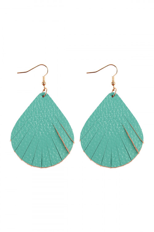 S7-4-1-AHDE2271TQ TURQUOISE FRINGED PEAR SHAPE LEATHER EARRINGS/6PAIRS