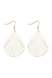 S6-4-2-AHDE2271WT WHITE FRINGED PEAR SHAPE LEATHER EARRINGS/6PAIRS