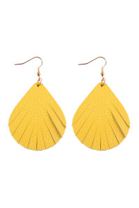 S6-4-2-AHDE2271YW YELLOW FRINGED PEAR SHAPE LEATHER EARRINGS/6PAIRS