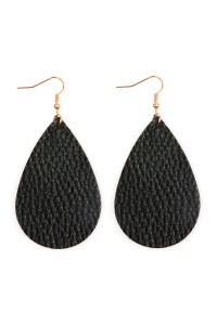 S5-4-2-AHDE2272BK BLACK TEARDROP LEATHER EARRINGS/6PAIRS