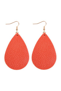 S4-5-3-AHDE2272CO CORAL TEARDROP LEATHER EARRINGS/6PAIRS