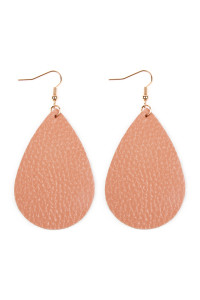 S4-5-2-AHDE2272DPK DUTY PINK TEARDROP LEATHER EARRINGS/6PAIRS