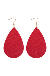S6-5-3-AHDE2272HPK HOT PINK TEARDROP LEATHER EARRINGS/6PAIRS