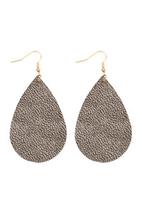 S6-4-2-AHDE2272MH METALLIC HEMATITE TEARDROP LEATHER EARRINGS/6PAIRS