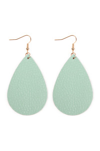 S6-5-3-AHDE2272MN MINT TEARDROP LEATHER EARRINGS/6PAIRS