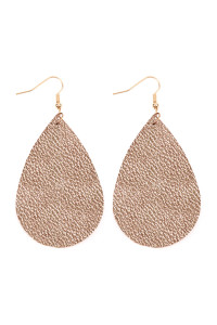 S5-4-2-AHDE2272MRG METALLIC ROSE GOLD TEARDROP LEATHER EARRINGS/6PAIRS