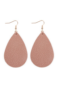 S5-4-2-AHDE2272NU NUDE TEARDROP LEATHER EARRINGS/6PAIRS