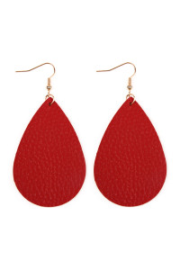 S5-4-2-AHDE2272RD RED TEARDROP LEATHER EARRINGS/6PAIRS