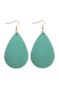 S4-5-3-AHDE2272TQ TURQUOISE TEARDROP LEATHER EARRINGS/6PAIRS