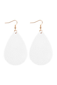 S6-5-3-AHDE2272WT WHITE TEARDROP LEATHER EARRINGS/6PAIRS