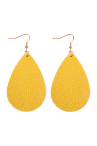 S4-5-3-AHDE2272YW YELLOW TEARDROP LEATHER EARRINGS/6PAIRS