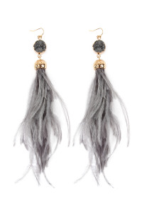 S4-6-4-AHDE2290GY GRAY DRUZY STONE WITH DANGLING FEATHER EARRINGS/6PAIRS