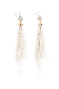 S4-6-4-AHDE2290IV IVORY DRUZY STONE WITH DANGLING FEATHER EARRINGS/6PAIRS