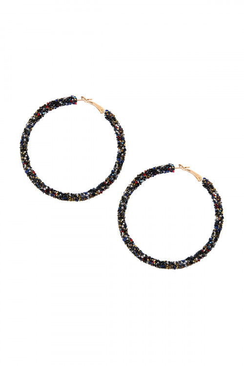A1-3-4-AHDE2304DMT DARK MULTI RHINESTONE COATED HOOP EARRINGS/6PAIRS