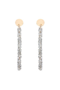 S4-6-4-AHDE2305S SILVER RHINESTONE COATED WIRE DROP EARRINGS/6PAIRS