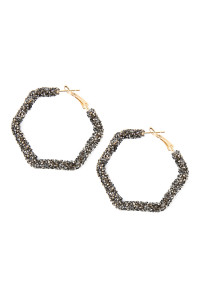 S6-5-2-AHDE2306HE HEMATITE RHINESTONE COATED WIRE HEXAGON HOOP HINGE EARRINGS/6PAIRS