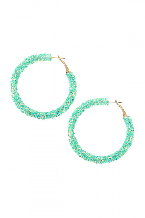 A1-2-3-AHDE2307MN MINT SEQUIN COATED HOOP EARRINGS/6PAIRS